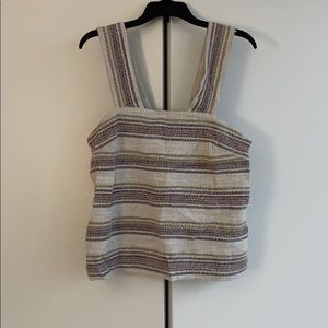 Madewell striped tank top with button back